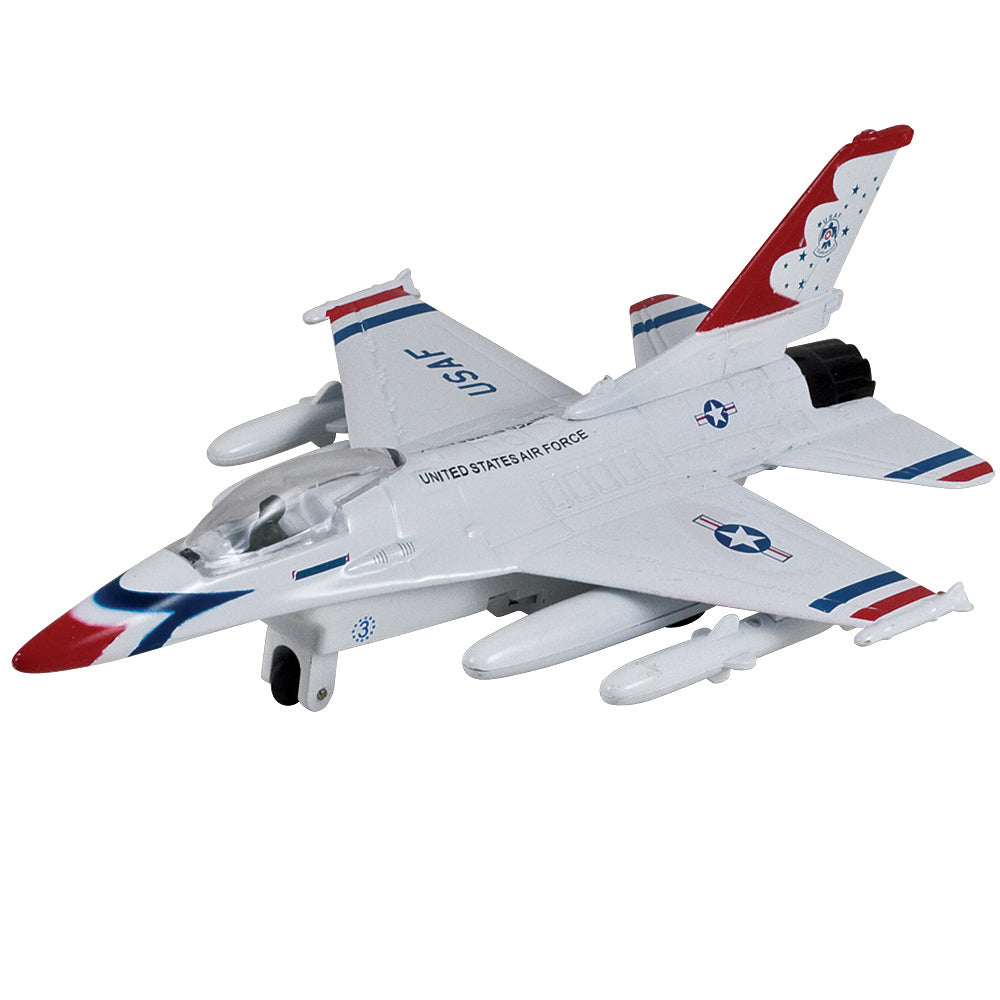 InAir 8 Inch Diecast Metal and Plastic Friction Powered Pullback USAF General Dynamics F-16 Lockheed Fighting Falcon Thunderbirds Fighter Aircraft with Historically Accurate Markings. Just like at the air show!