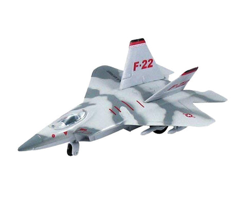 9 Inch Die Cast Metal and Plastic Friction Powered Pullback Lockheed Martin F-22 Raptor Stealth Fighter Aircraft in Silver Camouflage with Historically Accurate Markings.