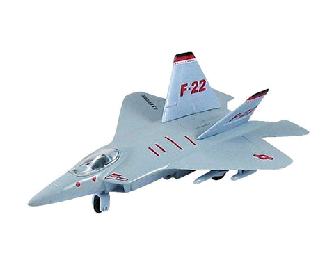 9 Inch Die Cast Metal and Plastic Friction Powered Pullback Lockheed Martin F-22 Raptor Stealth Fighter Aircraft in Silver with Historically Accurate Markings.