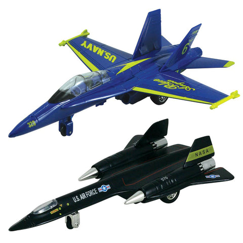 SET of 2 Die Cast Metal and Plastic Friction Powered Pullback Aircraft with Historically Accurate Markings. 8 Inch Lockheed SR-71 Stealth Blackbird and 8 Inch McDonnell Douglas F/A-18 Hornet Blue Angels Fighter Aircraft.