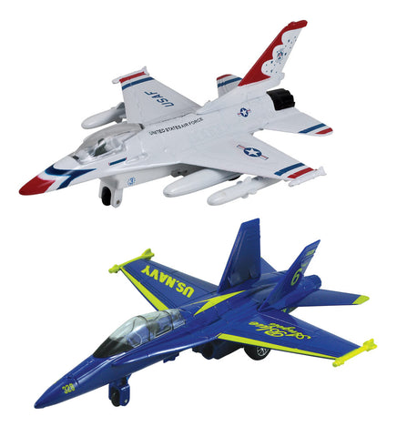 SET of 2 Die Cast Metal and Plastic Friction Powered Pullback Fighter Aircraft with Historically Accurate Markings. 8 Inch General Dynamics F-16 Fighting Falcon Thunderbirds and McDonnell Douglas F/A-18 Hornet Blue Angels.
