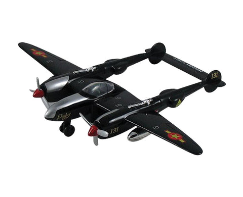 "8.5 Inch Die Cast Metal and Plastic Friction Powered Pullback Lockheed P-38 Lightning Fighter ""Fork Tailed Devil"" World War II Aircraft in Black with Historically Accurate Markings."