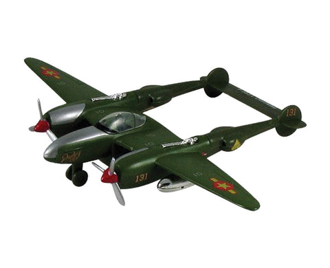 "8.5 Inch Die Cast Metal and Plastic Friction Powered Pullback Lockheed P-38 Lightning Fighter ""Fork Tailed Devil"" World War II Aircraft in Green with Historically Accurate Markings."