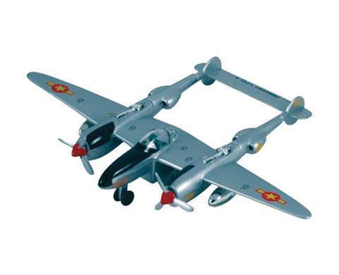"8.5 Inch Die Cast Metal and Plastic Friction Powered Pullback Lockheed P-38 Lightning Fighter ""Fork Tailed Devil"" World War II Aircraft in Silver with Historically Accurate Markings."