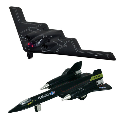 SET of 2 Die Cast Metal and Plastic Friction Powered Pullback Stealth Aircraft with Historically Accurate Markings. 10 Inch Northrop Grumman B-2 Spirit Bomber with Lights & Sounds and 8 Inch Lockheed SR-71 Blackbird.