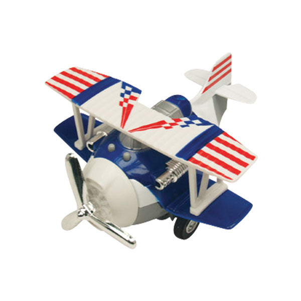 4 Inch Long Durable Die Cast Metal and Plastic Friction Powered Pullback Action Biplane Aircraft with Spinning Propeller when in Motion in Assorted Colors.