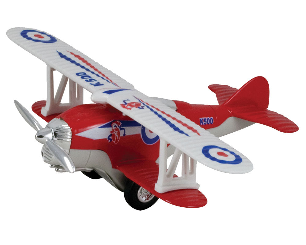 5 Inch Long Durable Die Cast Metal and Plastic Friction Powered Pullback Action Red Biplane Aircraft with Spinning Propeller when in Motion.
