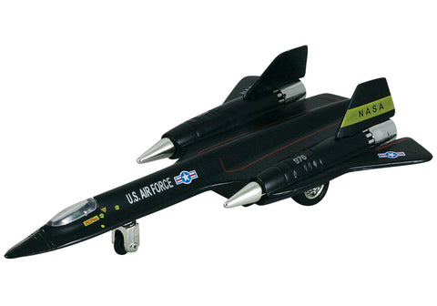8 Inch Die Cast Metal and Plastic Friction Powered Pullback Lockheed SR-71 Blackbird Stealth Reconnaissance US Air Force Aircraft with Historically Accurate Markings.