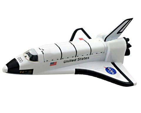 8 Inch Long Durable Die Cast Metal Replica of the NASA Space Shuttle Orbiter (Enterprise, Columbia, Challenger, Discovery, Atlantis & Endeavour) featuring Friction Powered Pullback Action and Authentic Markings with Payload Doors Closed.