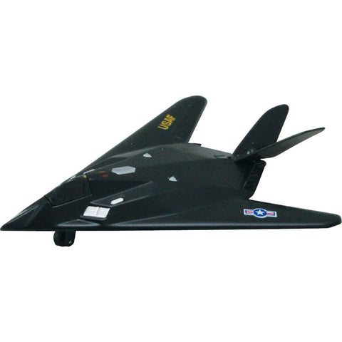 4.5 Inch Small Die Cast Metal and Plastic Lockheed F-117 Nighthawk Stealth Attack Aircraft with Friction Powered Pullback & Go Action, and Authentic Details.