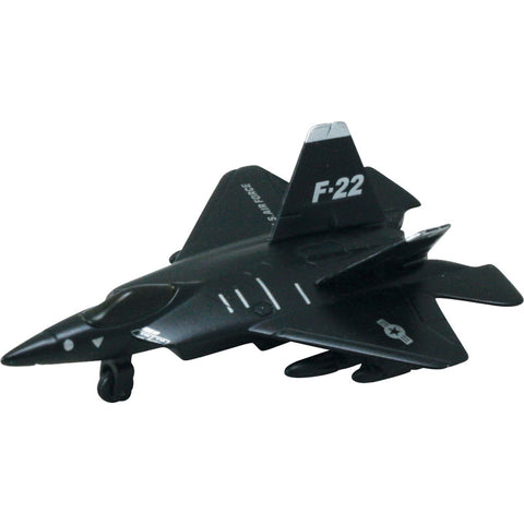 4.5 Inch Small Die Cast Metal and Plastic Lockheed Martin F-22 Raptor Stealth Fighter Aircraft with Friction Powered Pullback & Go Action, and Authentic Details.