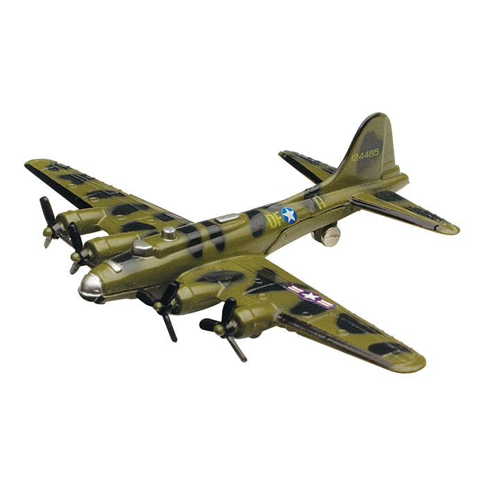 4.5 Inch Small Die Cast Metal Green Boeing B-17 Flying Fortress Heavy Bomber Aircraft with Authentic Markings and Details by RedBox / Motormax.
