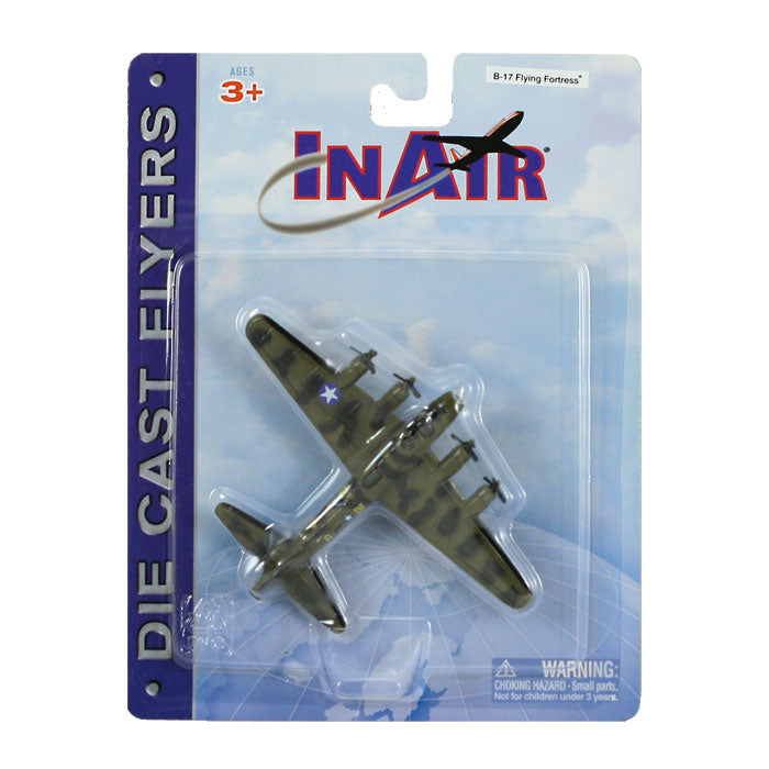 4.5 Inch Diecast Metal Green Boeing B-17 Flying Fortress Heavy Bomber Aircraft with Authentic Markings and Details InAir Diecast Flyers RedBox / Motormax.