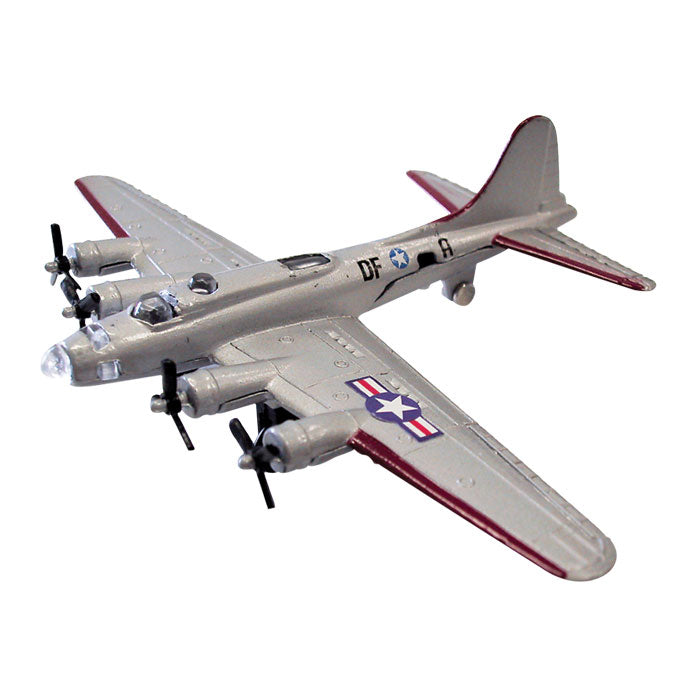 4.5 Inch Small Die Cast Metal Silver Boeing B-17 Flying Fortress Heavy Bomber Aircraft with Authentic Markings and Details by RedBox / Motormax.