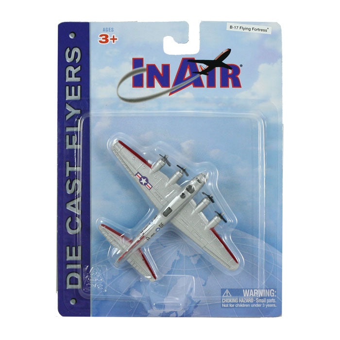 4.5 Inch Diecast Metal Silver Boeing B-17 Flying Fortress Heavy Bomber Aircraft with Authentic Markings and Details InAir Diecast Flyers RedBox / Motormax.
