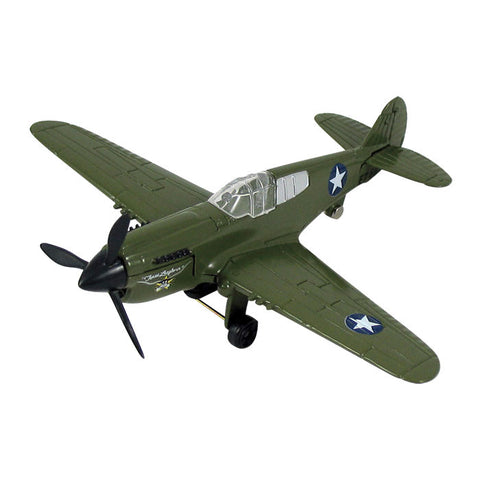 4.5 Inch Small Die Cast Metal Curtiss P-40 Warhawk Tomahawk Kittyhawk World War II Fighter Aircraft with Authentic Markings and Details by RedBox / Motormax.