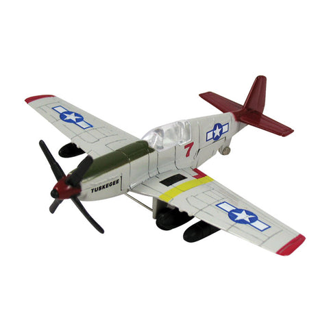 "4.5 Inch Small Die Cast Metal North American P-51 Mustang Tuskegee Airman ""Red Tails"" World War II Aircraft with Authentic Markings and Details by RedBox / Motormax."