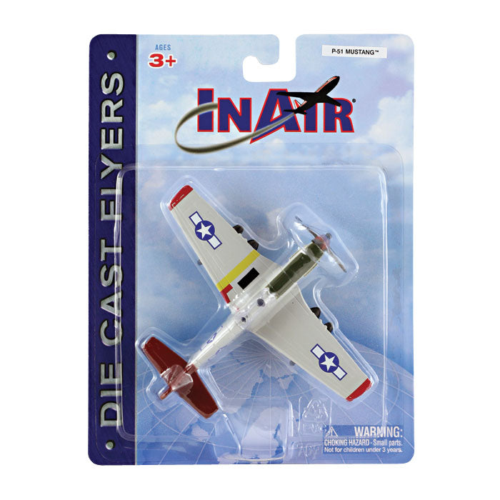 "4.5 Inch Diecast Metal North American P-51 Mustang Tuskegee Airman ""Red Tails"" World War II Aircraft with Authentic Markings and Details in its Original Packaging InAir Diecast Flyer RedBox / Motormax."