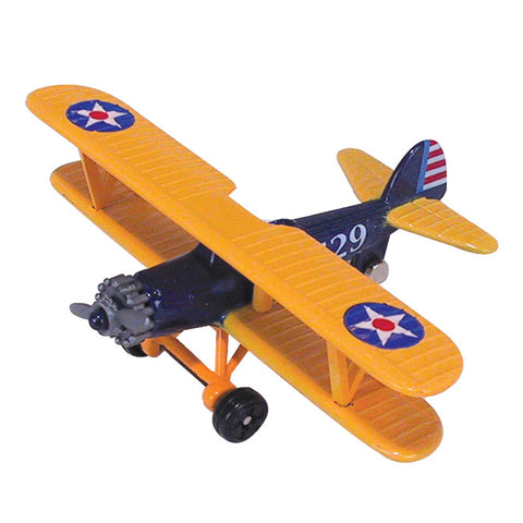 4.5 Inch Small Die Cast Metal Yellow Boeing PT Stearman Model 75 Biplane US Army Training Aircraft and Later Civilian Aircraft with Authentic Markings and Details by RedBox / Motormax.
