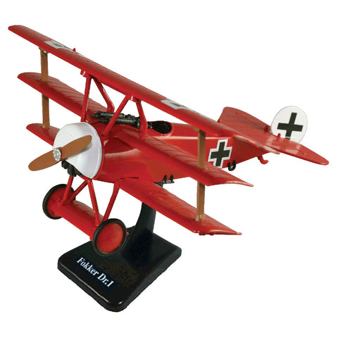 Highly Detailed 1:48 Scale Plastic Model Kit Replica of a Fokker Dr.I World War I German Triplane Aircraft with Detailed Markings and Display Stand that Includes Everything Needed for Assembly.