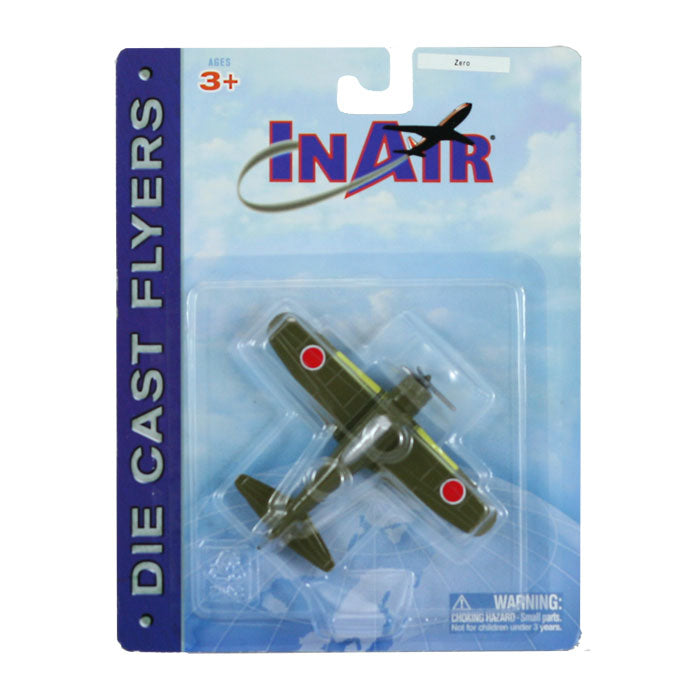 3.5 Inch Diecast Metal Green Mitsubishi A6M Zero Fighter World War II Aircraft with Authentic Markings and Details in its Original Packaging InAir Diecast Flyer RedBox / Motormax.