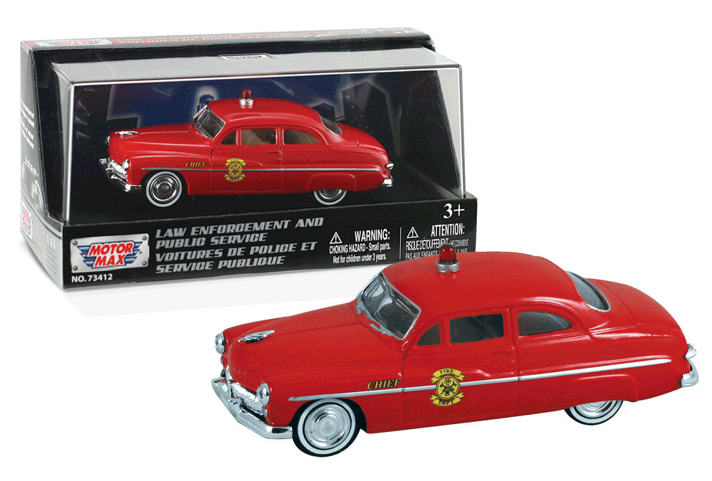 1:43 Scale Die Cast Model of the 1949 Mercury Coupe Fire Engine shown in its original Packaging as manufactured by RedBox / Motormax.