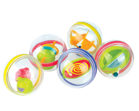 SET of 5 Durable Plastic Colorful Multi Sensory Activity Balls for Babies. Each Ball features a different Activity. By My Precious Baby.