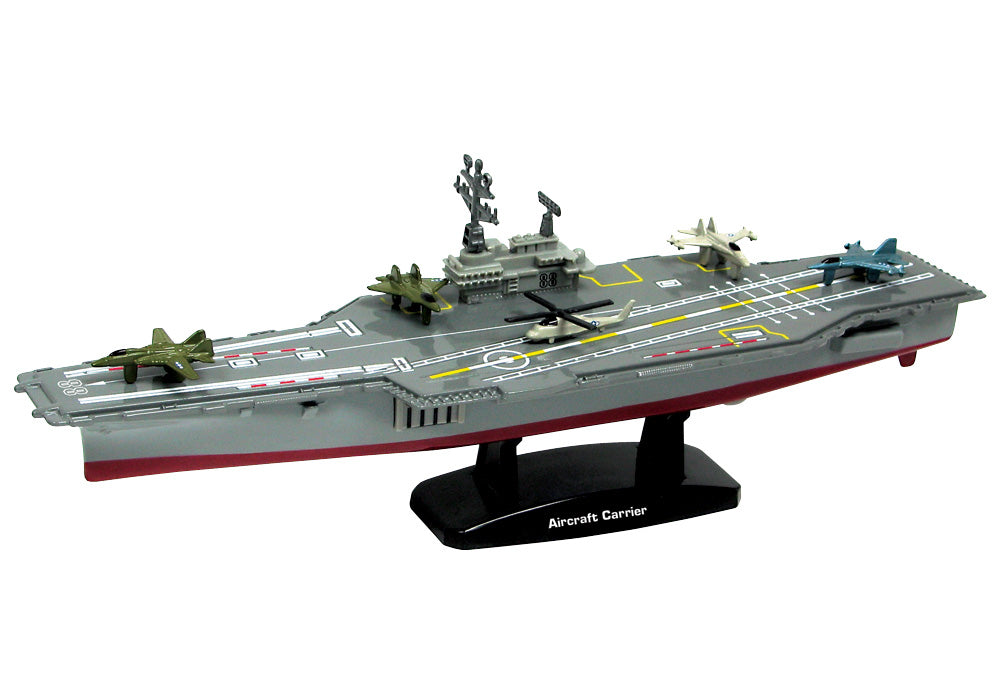 This 9 inch metal collectible diecast aircraft carrier replica moves easily on hidden wheels. Battle Zone brand, comes with display stand and 5 micro diecast aircraft included RedBox / Motormax InAir