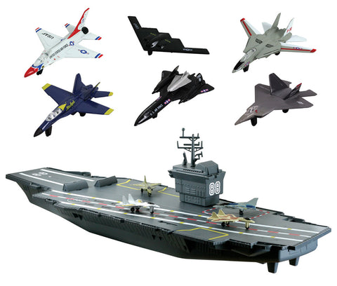 31 inch Battery Operated Durable Plastic Replica Aircraft Carrier Playset including 4 Die Cast Metal Jets, 6 Die Cast Modern Airplane, Flashing Runway Lights, Sound Chip, Decals and a Convenient Storage Compartment by RedBox / Motormax