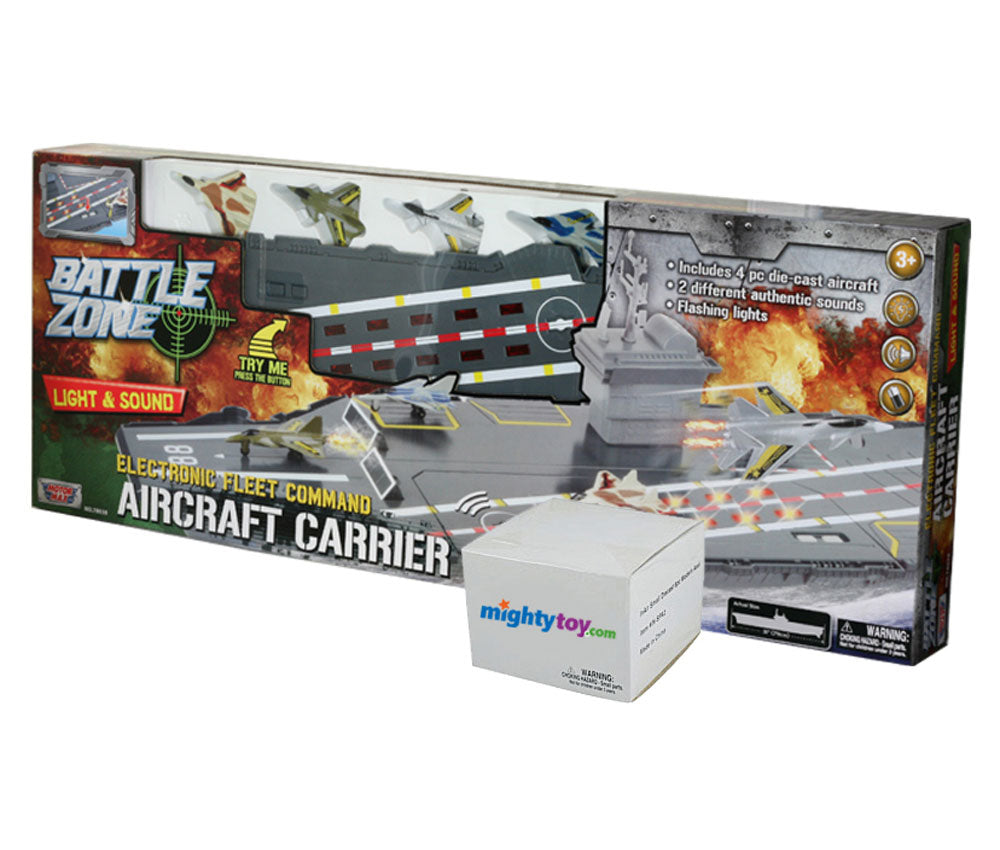 This durable plastic interactive extra large toy aircraft carrier playset includes 4 diecast metal jets, 6 Modern diecast metal airplanes, flashing runway lights, authentic sounds and a large storage compartment. Electronic Fleet Command Battle Zone brand playset with InAir diecast metal toy airplanes.