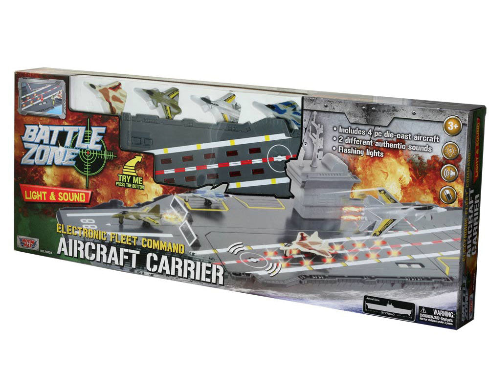 This durable plastic interactive extra large 31 inch toy aircraft carrier playset includes 4 diecast metal jets, flashing runway lights, authentic sounds and a large storage compartment. Electronic Fleet Command Battle Zone brand playset. RedBox / Motormax