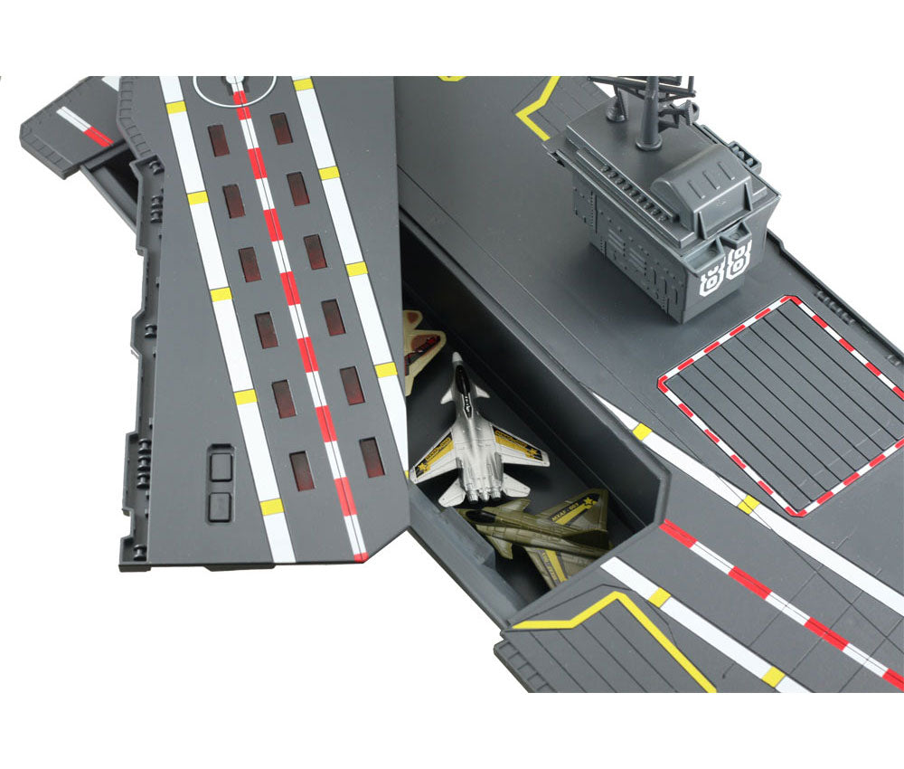 Convenient Storage Compartment located beneath the Flashing Runway Section of the Aircraft Carrier Plasyset.