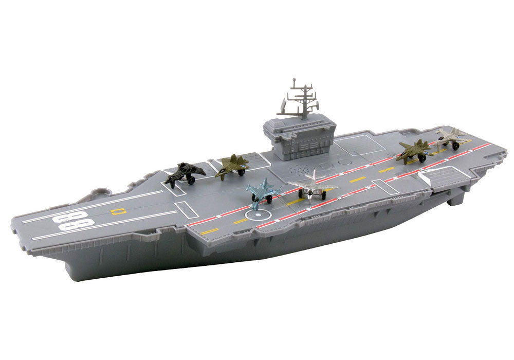 Durable Plastic 18 Inch Long Battle Zone Aircraft Carrier with 6 Die Cast Airplanes, featuring realistic Airplane Sounds by Motormax. InAir