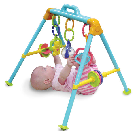 Durable Plastic Colorful Four Legged Activity Center for Babies with Interactive and Hanging Links including a Hanging Bear Rattle, a Rolling Ball and Large Mirror. Measures 22 x 22 x 20 and has Convenient Carry Handle.
