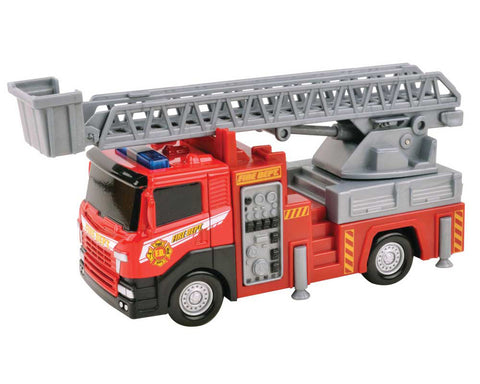 Red Die Cast Metal and Plastic Fire Engine with Extendable Ladder measuring 8 Inches Long by RedBox / Motormax.