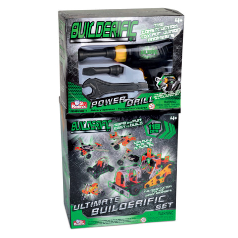 118 Piece Builderific Construction Set with interlocking Plastic Pieces including a Power Drill and Wrench Set by RedBox / Motormax.