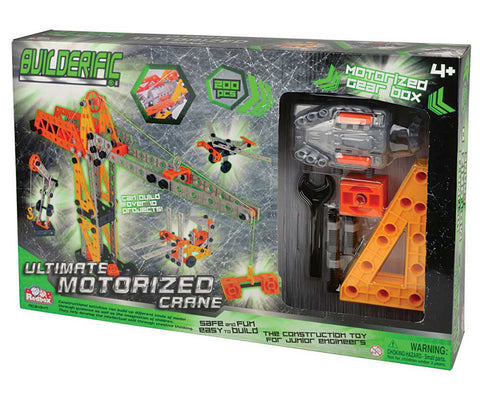 200 Piece Builderific Construction Set with interlocking Plastic Pieces including a Motorized Gear Box by RedBox / Motormax.