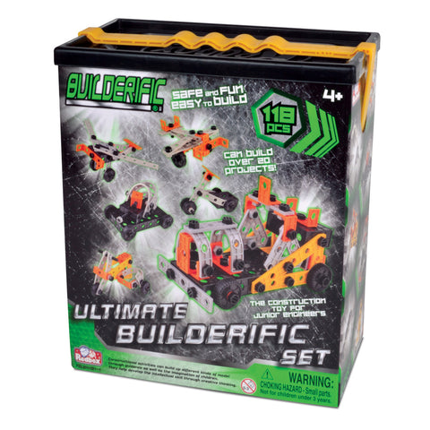 118 Piece Builderific Construction Set with interlocking Plastic Pieces in a convenient Storage Tub and handle by RedBox / Motormax.