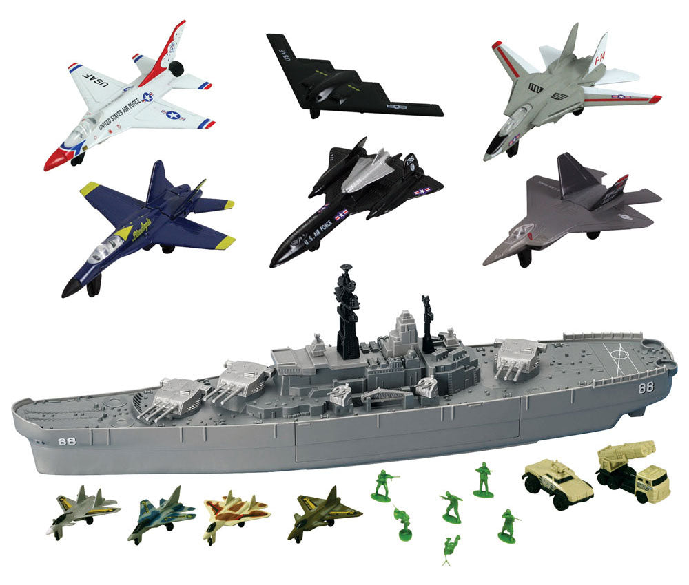 28 inch Durable Plastic Replica Toy Battleship Playset with 4 Die Cast Metal Airplanes, 6 Die Cast Modern Airplanes, 2 Die Cast Metal Tanks, 6 Plastic Toy Soldiers with Convenient Storage Compartment with InAir Diecast toy airplanes. Battle Zone RedBox / Motormax.