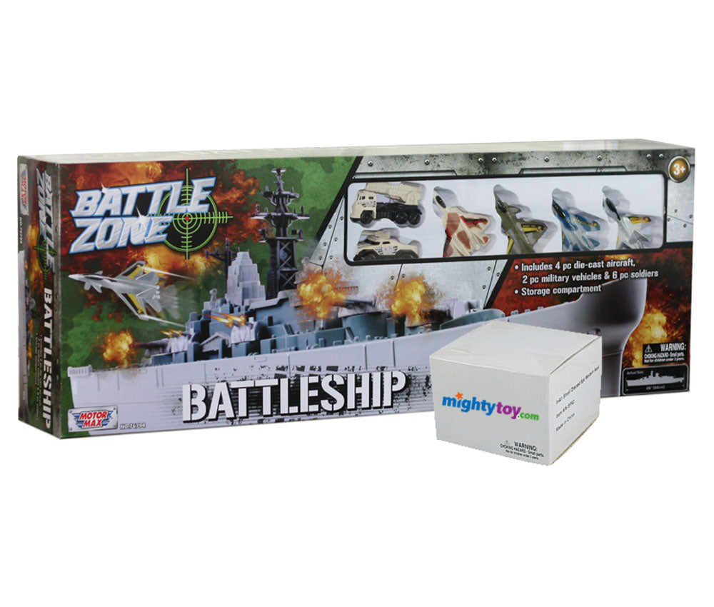 28 inch Durable Plastic Replica Battleship Playset with 4 Die Cast Metal Aircraft, 6 Die Cast Modern Aircraft, 2 Die Cast Metal Tanks, 6 Plastic Soldiers with Convenient Storage Compartment in its Original Packaging by RedBox / Motormax.