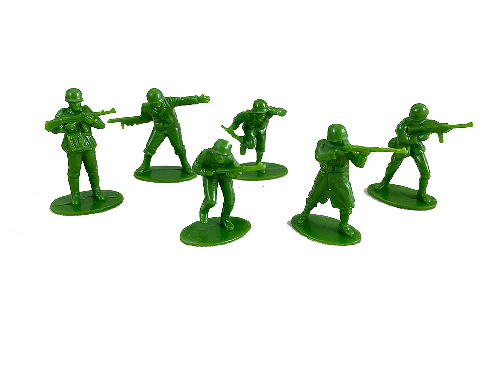 6 plastic green army soldiers that come with the 28 inch Durable Plastic Replica Toy Battleship Playset with 4 Die Cast Metal Airplanes, 6 Die Cast Modern Airplanes, 2 Die Cast Metal Tanks, 6 Plastic Toy Soldiers with Convenient Storage Compartment with InAir Diecast toy airplanes. Battle Zone RedBox / Motormax.
