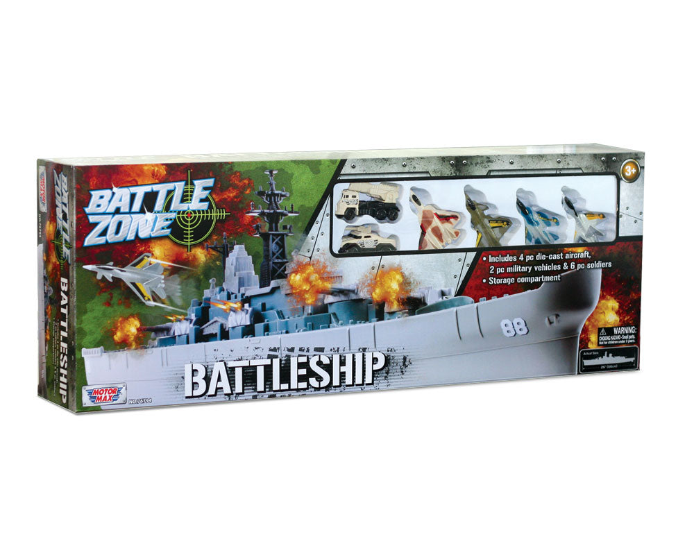 28 inch Durable Plastic Replica Playset of USS New Jersey Battleship including 4 Die Cast Metal Aircraft, 2 Die Cast Metal Tanks, 6 Plastic Soldiers with Convenient Storage Compartment in its Original Packaging by RedBox / Motormax.