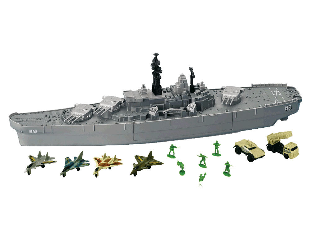 This giant playset is centered around a large detailed toy battleship model made of durable plastic. The playset includes: 10 diecast metal airplanes, 2 diecast metal tanks and 6 plastic toy soldiers. Durable Plastic 10 InAir Diecast Metal Airplanes (6 WW2 Planes) 2 Diecast Metal Tanks 6 Plastic Toy Soldiers 27 Inches Long