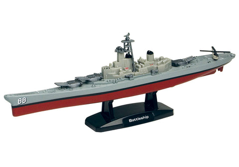 9 Inch Die Cast Metal Collectible Replica of a Battleship on a Display Stand that Moves on Hidden Wheels with 1 Die Cast Micro Helicopter by RedBox / Motormax.