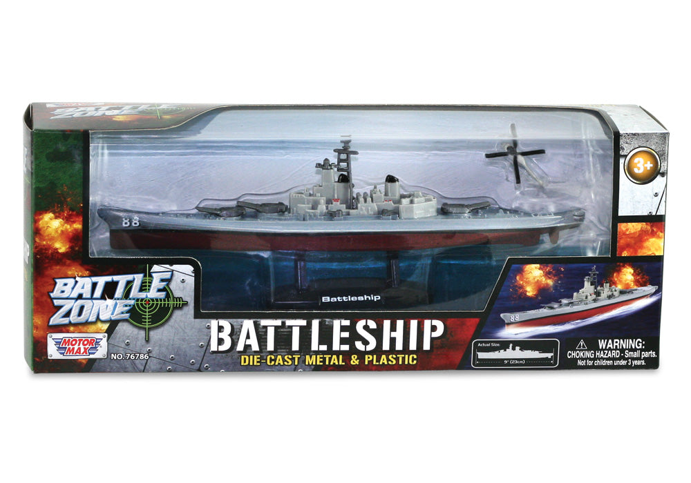 9 Inch Die Cast Metal Collectible Replica of a Battleship on a Display Stand that Moves on Hidden Wheels with 1 Die Cast Micro Helicopter in its Original Packaging by RedBox / Motormax.