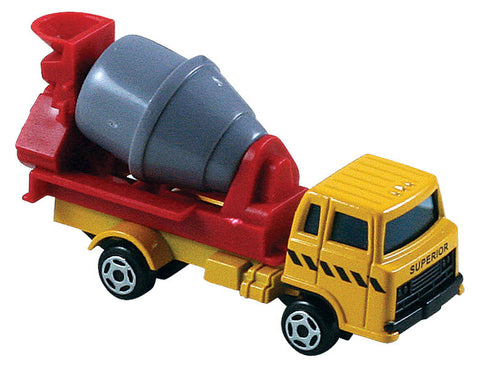 Small Die Cast Construction Vehicle, Cement Mixer with Moving Parts measuring approximately 2.5 inches for Indoor or Outdoor Play.