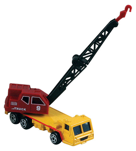 Small Die Cast Construction Vehicle, Crane with Moving Parts measuring approximately 2.5 inches for Indoor or Outdoor Play.