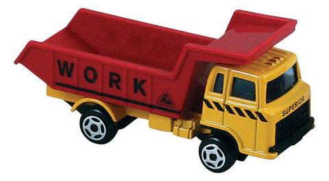 Small Die Cast Construction Vehicle, Dump Truck with Moving Parts measuring approximately 2.5 inches for Indoor or Outdoor Play.