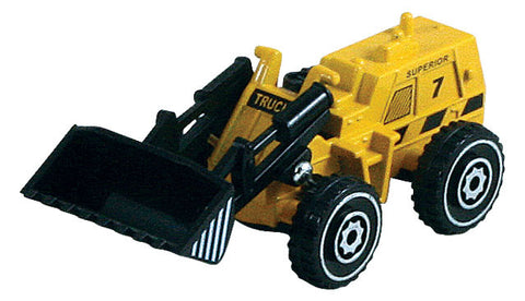 Small Die Cast Construction Vehicle, Front Loader with Moving Parts measuring approximately 2.5 inches for Indoor or Outdoor Play.