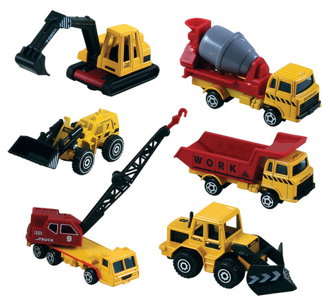SET of 6 Small Die Cast Construction Vehicles: Dump Truck, Cement Mixer, Crane, Bulldozer, Power Shovel, and Front Loader with Moving Parts each measuring approximately 2.5 inches for Indoor or Outdoor Play.